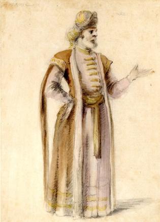 Stefano della Bella, Costume study for Arbante in Hipermestra, 1658, British Museum, London © The Trustees of the British Museum