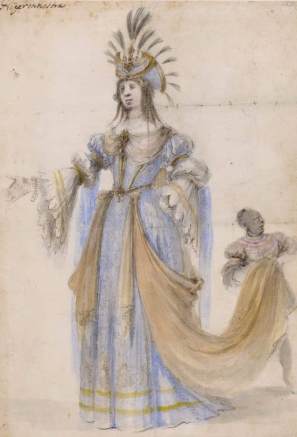 Stefano della Bella, Costume study for Hipermestra, 1658, British Museum, London © The Trustees of the British Museum