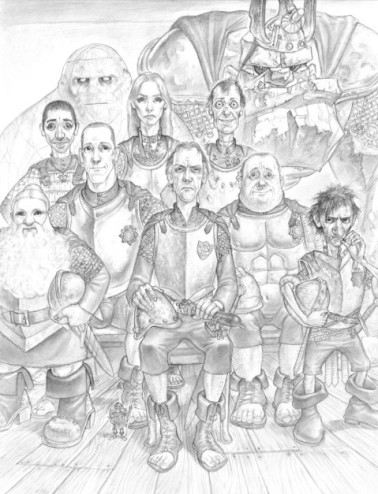 Paul Kidby, The Unusual Suspects. This dates from a later book than Men at Arms, with a few Watchmen who don't feature here, but you can see (seated centre) Vimes flanked by Carrot (left), Colon and Nobby (right), with Angua standing behind Carrot's shoulder and Detritus at back right © Paul Kidby
