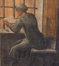 Giorgio Vasari, A figure reading: A trompe l'oeil figure 'seen' through a half-open painted door. Fresco from the grand entrance hall, Casa Vasari, Arezzo