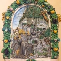 Girolamo della Robbia, The Stigmatisation of St Francis, majolica, 1505-12, Museo dell'Arte Medievale e Moderna, Arezzo