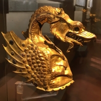 The crest of a parade helmet in the form of a dragon, dating from the mid-15th century. It belongs to the Fraternità dei Laici but is on long-term loan to the Museo dell'Arte Medievale e Moderna, Arezzo