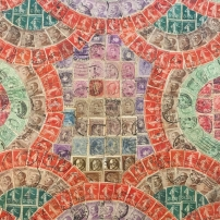 A display of Italian postage stamps in an album at Casa Museo di Ivan Bruschi