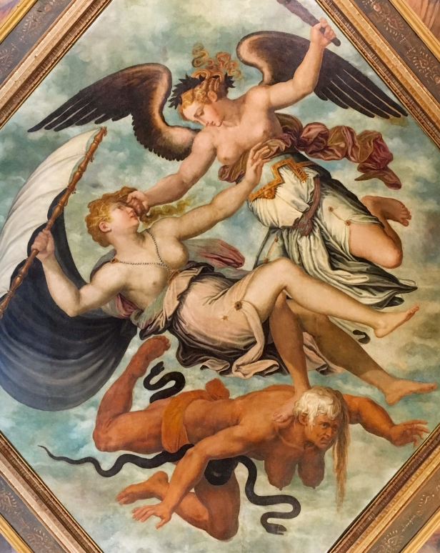 Giorgio Vasari, Virtue overcoming Fortune and Invidia (Envy), oil on canvas. Mounted in the centre of the ceiling of the grand entrance hall, Casa Vasari, Arezzo