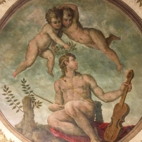 Giorgio Vasari, Apollo, fresco from the centre of the ceiling of the Room of the Muses, Casa Vasari, Arezzo