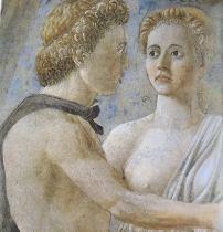 Piero della Francesca, Detail of two young people from The Death of Adam, Bacci Chapel, San Francesco, Arezzo