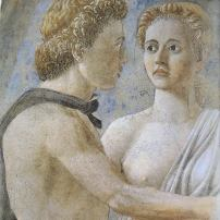 Piero della Francesca, Detail of two young people from The Death of Adam, Bacci Chapel, San Francesco, Arezzo