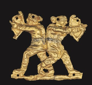 Gold applique showing two archers back to back, Kul Oba, 400BC - 350BC © The Trustees of the British Museum