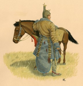 Drawing. Reconstruction of Scythian horseman based on the excavated finds from Olon-Kurin-Gol 10, Altai mountains, Mongolia. By D. V. Pozdnjakov, Institute for Archaeology and Ethnography of the Siberian Department of the Russian Academy of Sciences
