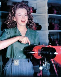 Norma Jeane Baker photographed at her job in an armaments factory by David Conover (1945)