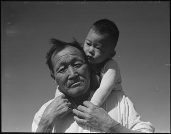 Dorothea Lange, Manzanar Relocation Center, Grandfather and Grandson, 1942