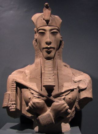 Fragmentary bust of Akhenaten. Unknown location.