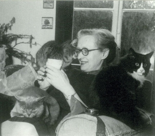 Jean with her beloved cats