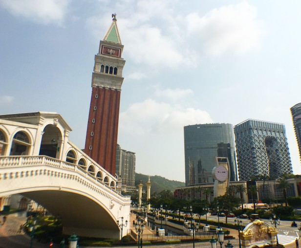 The Rialto Bridge and Campanile at the Venetian alongside other towers and hotels on the Cotai Strip, southern Macau