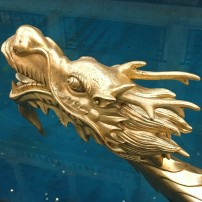 The head of a distinctly Chinese dragon serves as the prow of a gondola in the Venetian, Macau