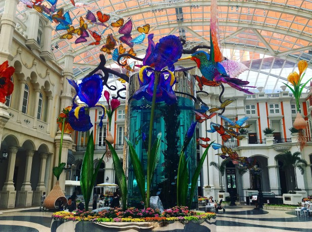 The exuberant atrium of MGM Macau