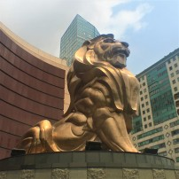 This golden lion, which guards the corner of the MGM Macau, is little less than ten metres tall