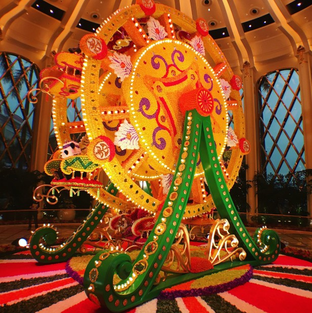 Preston Bailey's Ferris wheel with flowers at the Wynn Palace Hotel, Cotai, southern Macau